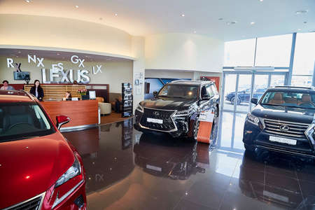 Murmansk, Russia - June 21, 2019: Cars in showroom of dealership Lexus in Murmansk city in Russia