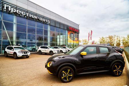 Kirov, Russia - May 07, 2019: Entrance in showroom of dealership Nissan in Kirov in 2019