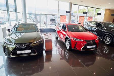 Murmansk, Russia - June 21, 2019: Cars in showroom of dealership Lexus in Murmansk city in Russia