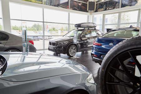 Petrozavodsk, Russia - June 19, 2019: Cars in showroom of dealership BMW in Petrozavodsk city in Russia