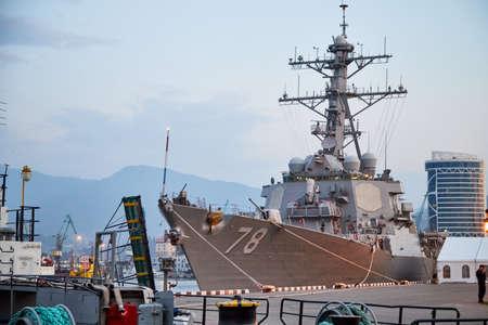 Batumi, Georgia - October 23, 2019: A NATO warship in the port of Batumi city in Georgia in day or evening time in Black sea