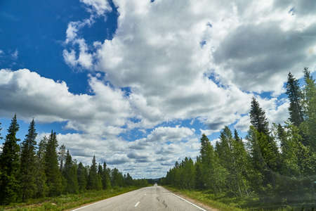 View from relief car windscreen on the blue sky with white clouds, gray asphalt road and landscape with forest and green  . Landscape through window. Trip for isolation in a coronavirus