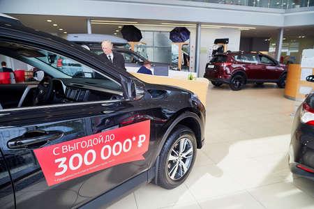 Murmansk, Russia - June 21, 2019: Cars in showroom of dealership Toyota in Murmansk in Russia
