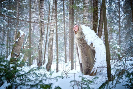 A middle-aged woman in a large warm fur coat and white angel wings in a winter forest with snow and snowdrifts. Fairy angel in cold forest in Russia before Christmas 写真素材