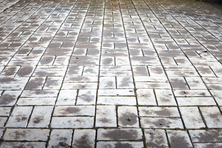 Perspective view monotone gray brick stone pavement on ground for street road. Sidewalk, driveway, pavers, tile