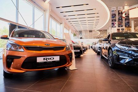 Vologda, Russia - June 18, 2019: Cars in showroom of dealership KIA in Vologda city in Russia