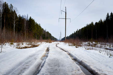 Dirty road in the snow in the middle of spruce and pine forests in day of early spring Stockfoto - 168421797