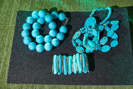 Beautiful blue beads. The concept of beautiful, elegant life and beautiful decoration for woman