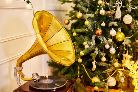 Christmas tree in room with gramophone in New year