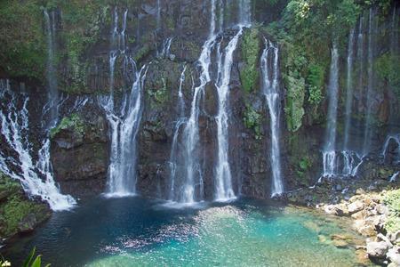 waterfalls on river Langevin, Reunion Island photo