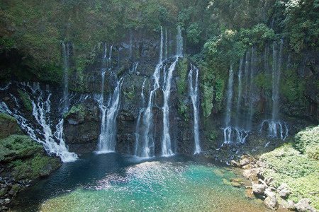 Waterfalls on river Langevin, Reunion Island 免版税图像