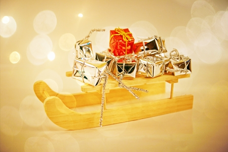 Gifts with santa sleigh photo