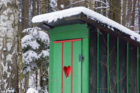 outhouse: Rural old outhouse in winter Stock Photo