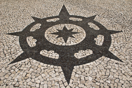 compacted: Portuguese stone pattern Stock Photo