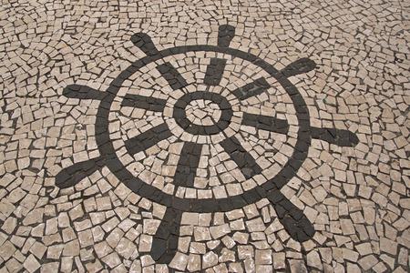 converging: Portuguese stone pattern Stock Photo