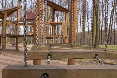 playground equipment: Detail Of Children Playground In The Park Stock Photo