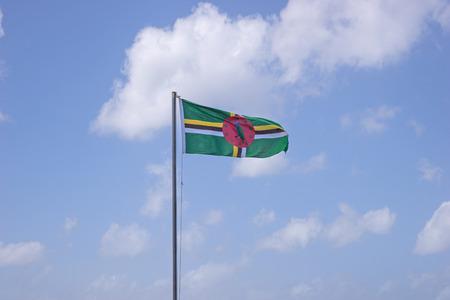 flagpole: Flag of Dominica on flagpole over blue sky