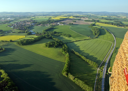 humane: Fields and roads from above in Saxony, Germany Stock Photo