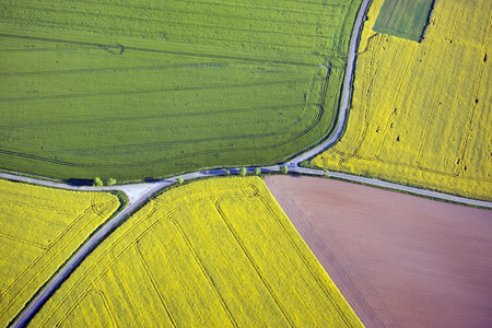Fields and roads from above in Saxony, Germany 写真素材