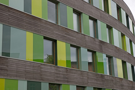 Colored glass facade