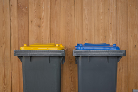 Two Colorful Recycle Bins Stock Photo