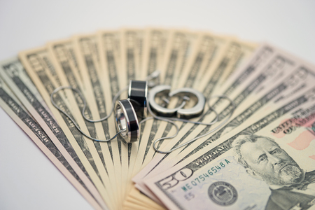 jewlery: American dollars with modern jewelry Stock Photo