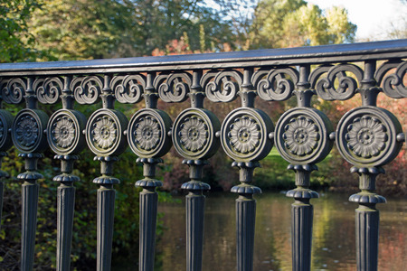 metal pattern: Iron ornaments on a railing Stock Photo