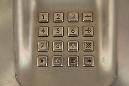 teclado num�rico: marcar el bot�n de n�mero en el tel�fono viejo p�blicos utilizados