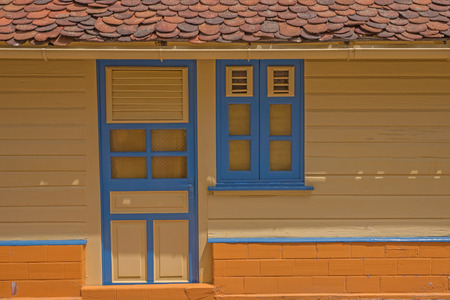 typical: Wooden colored houses typical for Caribbean Islands