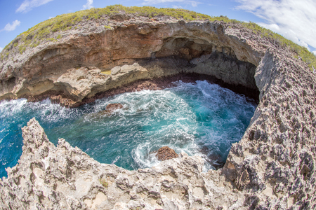 guadeloupe: Porte d enfer, Guadeloupe, photographed with fisheye