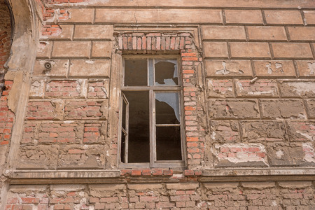 ruin: Old brick ruin wall with broken window Stock Photo
