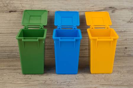Set of recycle garbage bins, waste separation concept 免版税图像