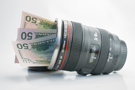 earned: Concepts of money that can be earned with photography