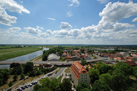 renovate old building facade: View from above of Torgau, Saxony, Germany