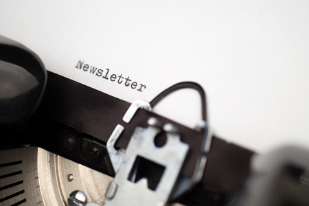 old time: Close up view - Newsletter - written on an old typewriter Stock Photo