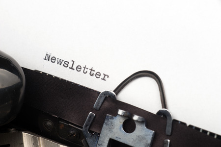 single story: Close up view - Newsletter - written on an old typewriter Stock Photo