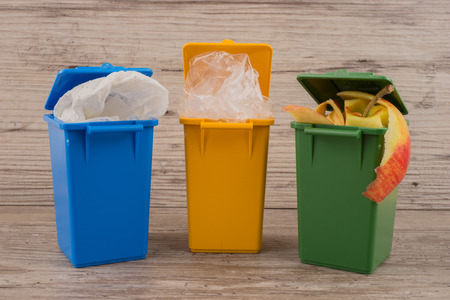 separation: Set of recycle garbage bins, waste separation concept Stock Photo