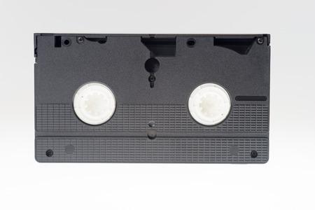 videocassette: Videocassette de cerca sobre un fondo blanco. antigua, grabar sonido Foto de archivo