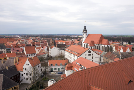 saxony: View from above of Torgau with church, Saxony, Germany