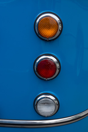 old bus: Headlight of old bus, abstract oldtimer background