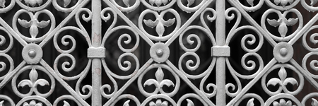 Decorative silver metal gate of historical building