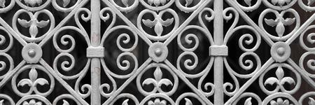 metal gate: Decorative silver metal gate of historical building