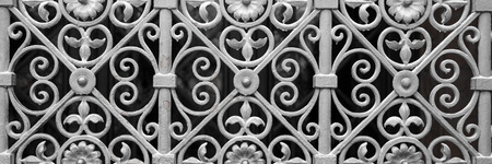 metal gate: Decorative silver metal gate of historical building