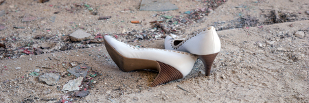 ancient sexy: White High Womens shoes in an abandoned building
