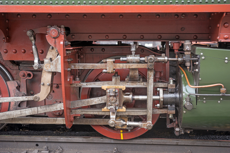 industrial machinery: Steam locomotive detail with cranks and wheels Stock Photo