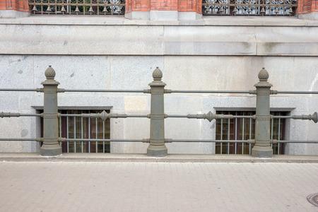bollards: Bollards made of metal on a promenade