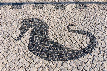 caballo de mar: portugués pavimento de adoquín hechos a mano típica con caballito de mar en Portugal