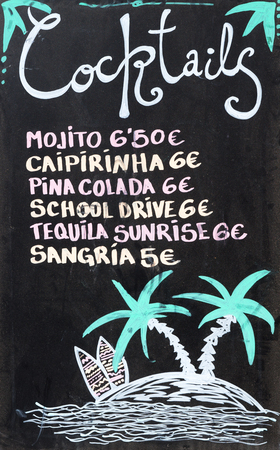 colada: Various cocktails - handwritten sign with prices in euros