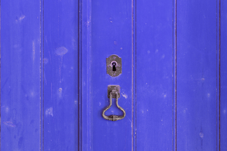 wicket gate: Fragment of closed old blue wooden gate Stock Photo