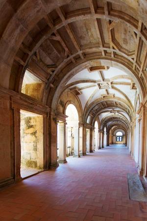Long portico in the Convent of Christ (Convento de Cristo) in Tomar, Portugal